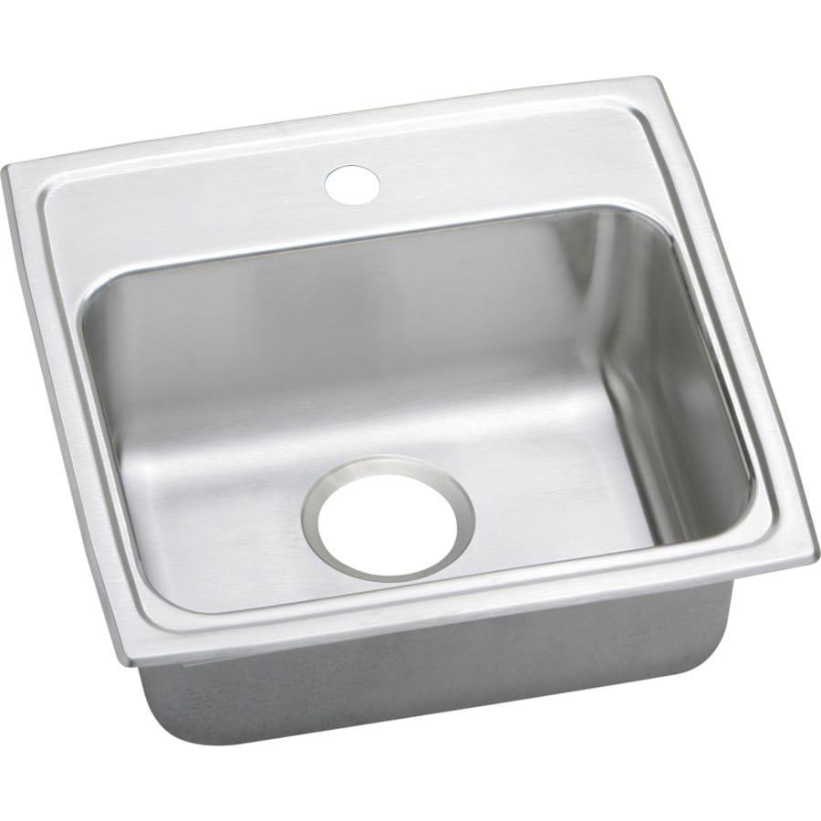 Elkay Gourmet 19-in x 19.5-in Lustertone Single-Basin Stainless Steel Drop-in 1-Hole Commercial/Residential Kitchen Sink Drainboard Included