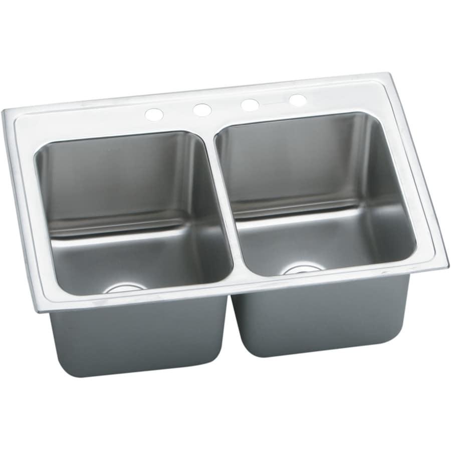 Elkay Gourmet 22-in x 33-in Lustertone Double-Basin Stainless Steel Drop-in 1-Hole Residential Kitchen Sink