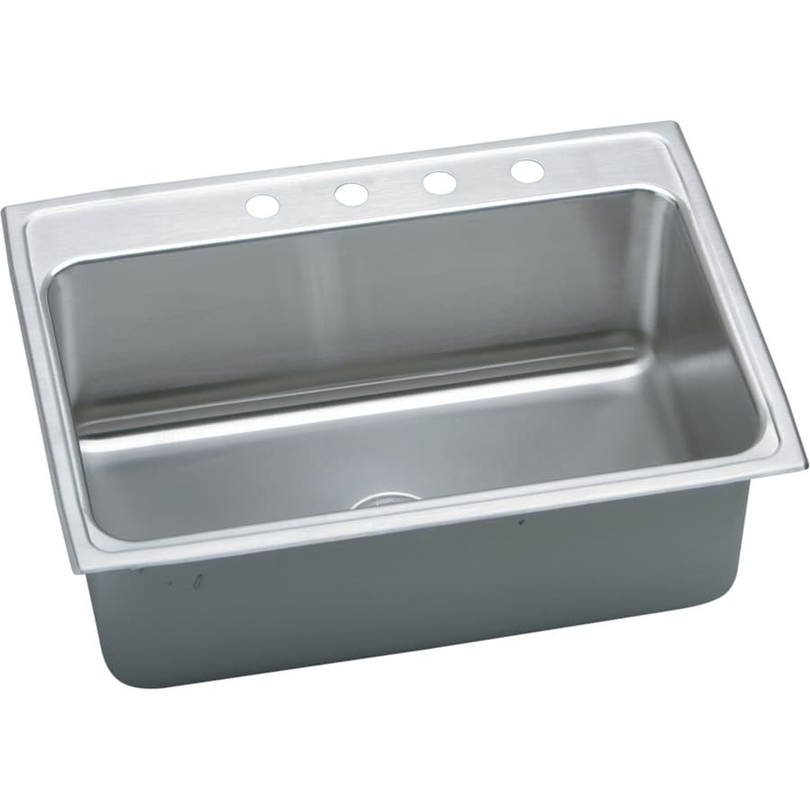 Elkay Gourmet 22-in x 31-in Lustertone Single-Basin Drop-in 4-Hole Residential Kitchen Sink