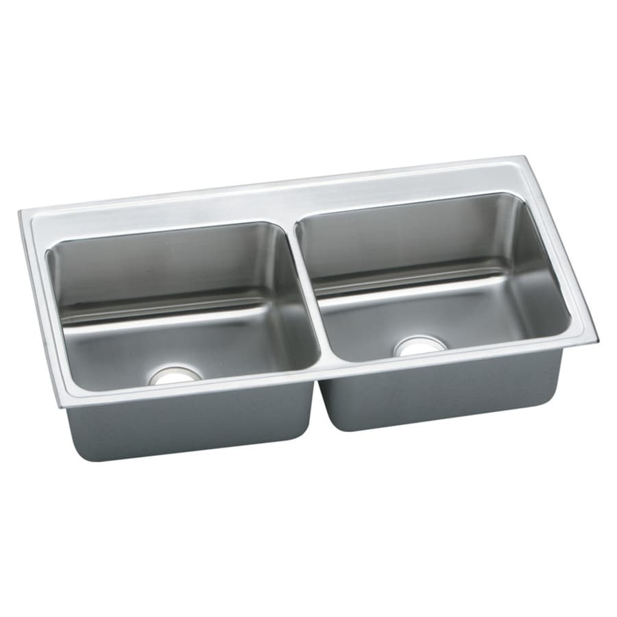 Elkay Gourmet 22-in x 43-in Lustrous Highlighted Satin Double-Basin Stainless Steel Drop-in Residential Kitchen Sink