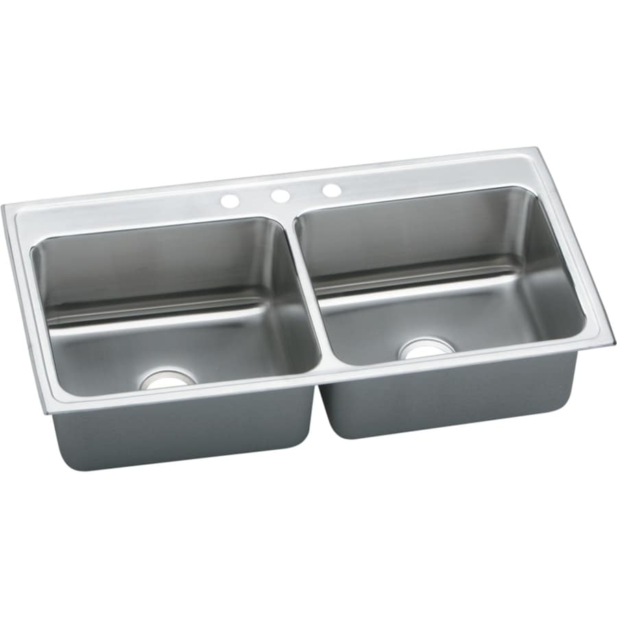 Elkay Gourmet 22-in x 43-in Lustertone Single-Basin-Basin Stainless Steel Drop-in 3-Hole Residential Kitchen Sink