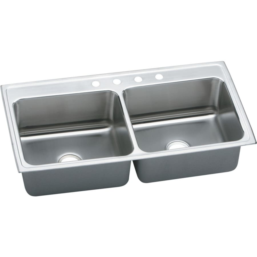 Elkay Gourmet 22-in x 33-in Lustertone Double-Basin Drop-in 4-Hole Residential Kitchen Sink Drainboard Included