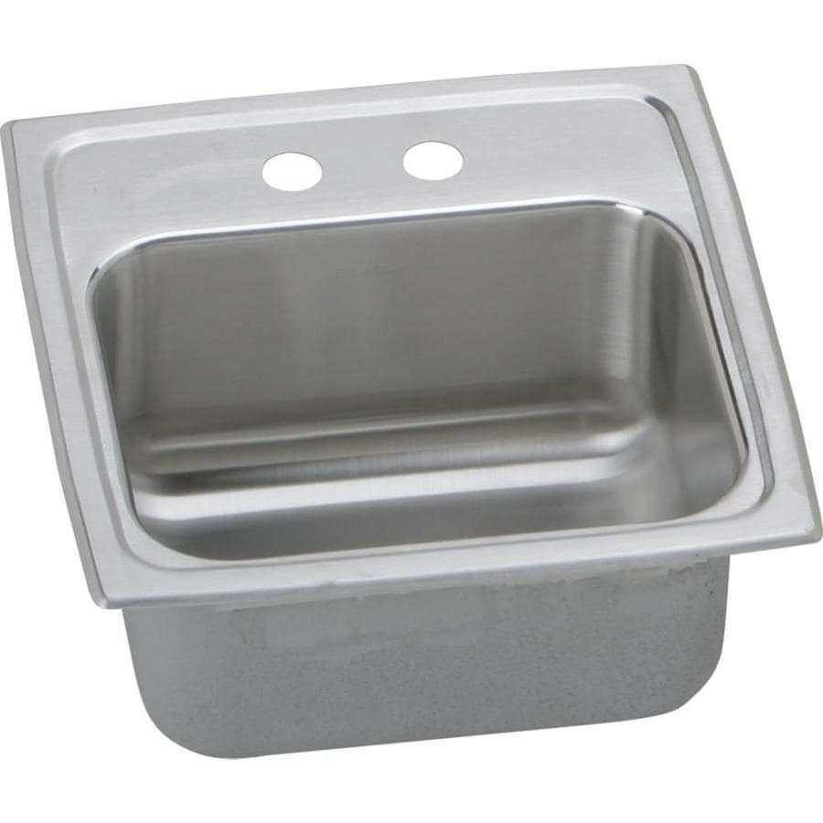 Elkay Gourmet Lustrous Highlighted Satin 2-Hole Stainless Steel Drop-in Residential Bar Sink