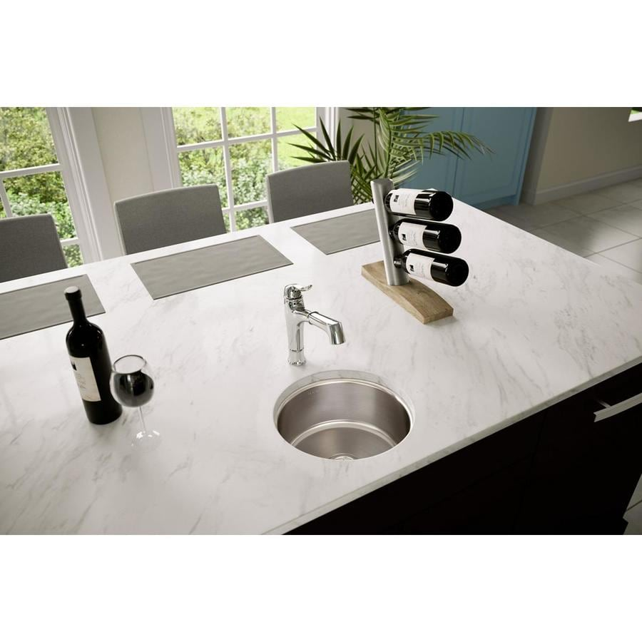 Elkay Mystic 14.38-in x 14.38-in Lustrous Highlighted Satin Single-Basin Stainless Steel Undermount Commercial Kitchen Sink
