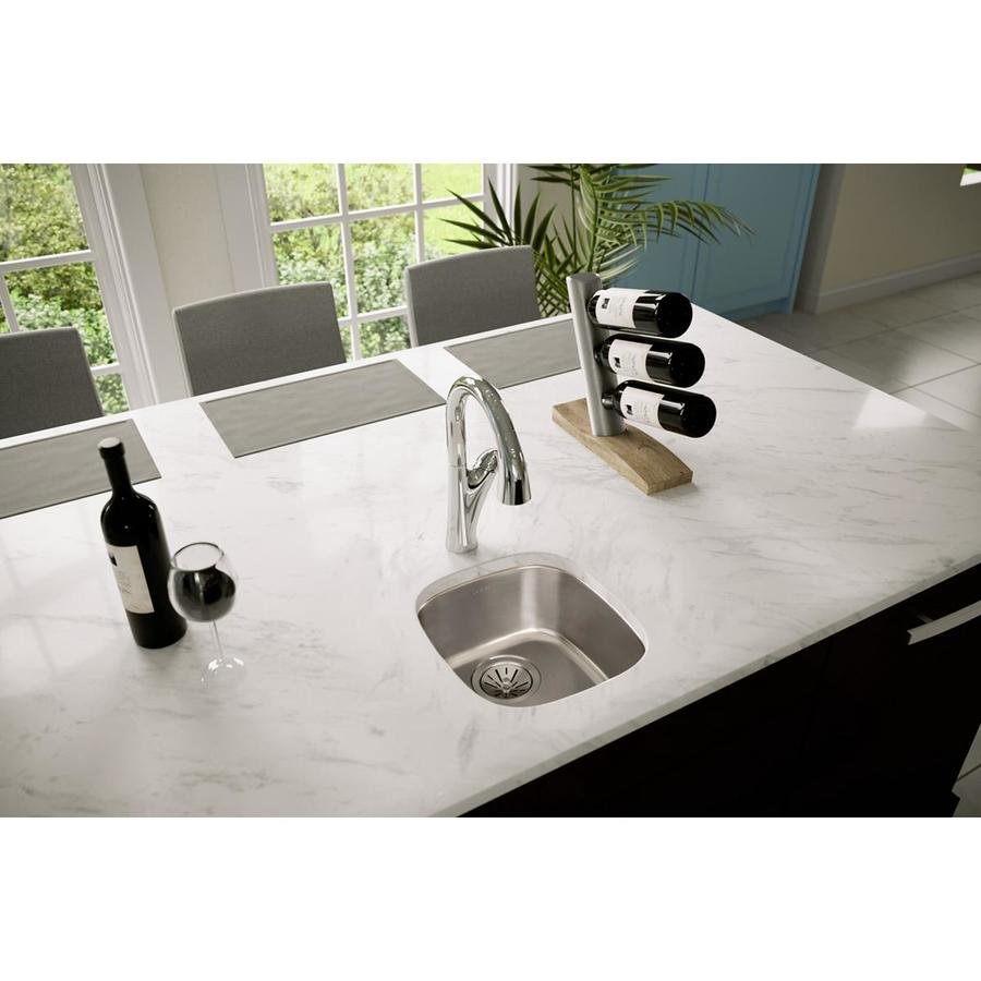Elkay Harmony 15.75-in x 14.25-in Lustrous Highlighted Satin Single-Basin Stainless Steel Undermount Commercial Kitchen Sink