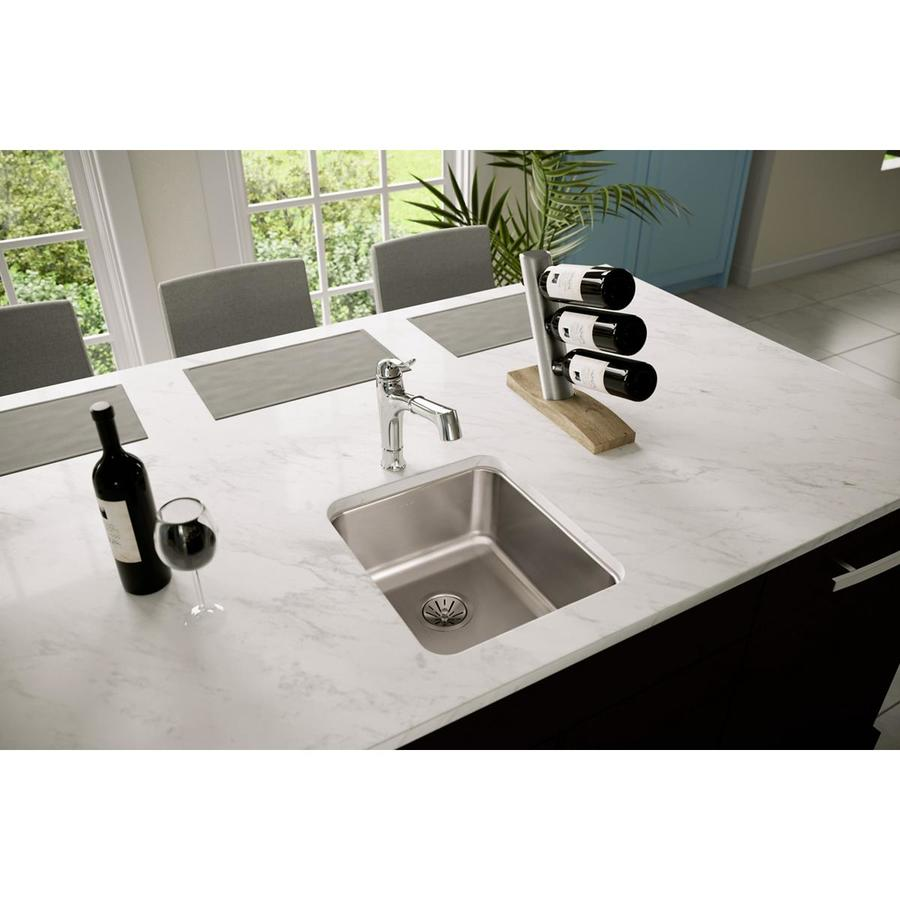 Elkay Gourmet 18.5-in x 16-in Lustrous Highlighted Satin Single-Basin Stainless Steel Undermount Residential Kitchen Sink