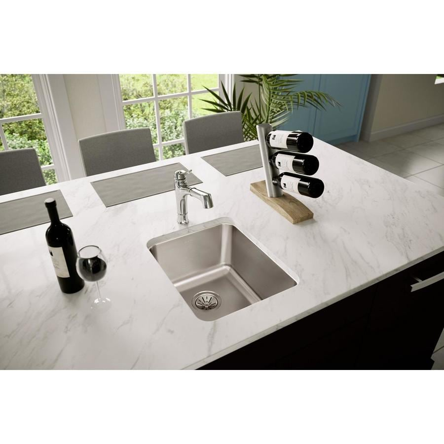 Elkay Gourmet 20.5-in x 16.5-in Lustertone Single-Basin Undermount Residential Kitchen Sink