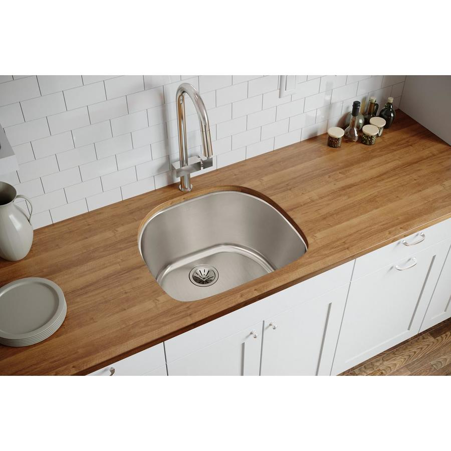 Elkay Harmony 21.19-in x 23.56-in Lustertone Single-Basin Stainless Steel Undermount Residential Kitchen Sink