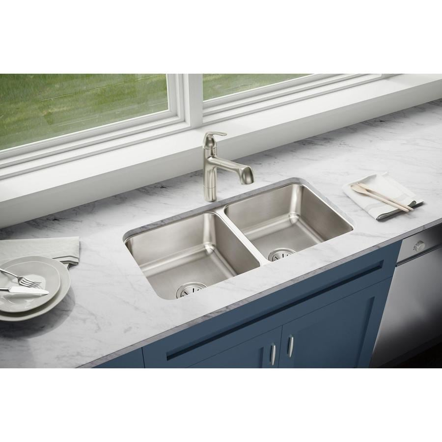 Elkay Gourmet 16.5-in x 31.75-in Lustertone Double-Basin Undermount Residential Kitchen Sink