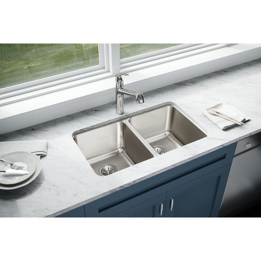 Elkay Gourmet 18.5-in x 30.75-in Lustertone Single-Basin-Basin Stainless Steel Undermount (Customizable)-Hole Residential Kitchen Sink