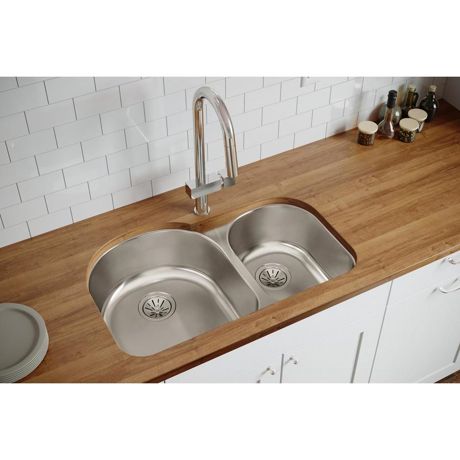 Elkay Harmony 20-in x 31.25-in Lustertone Double-Basin Stainless Steel Undermount Residential Kitchen Sink
