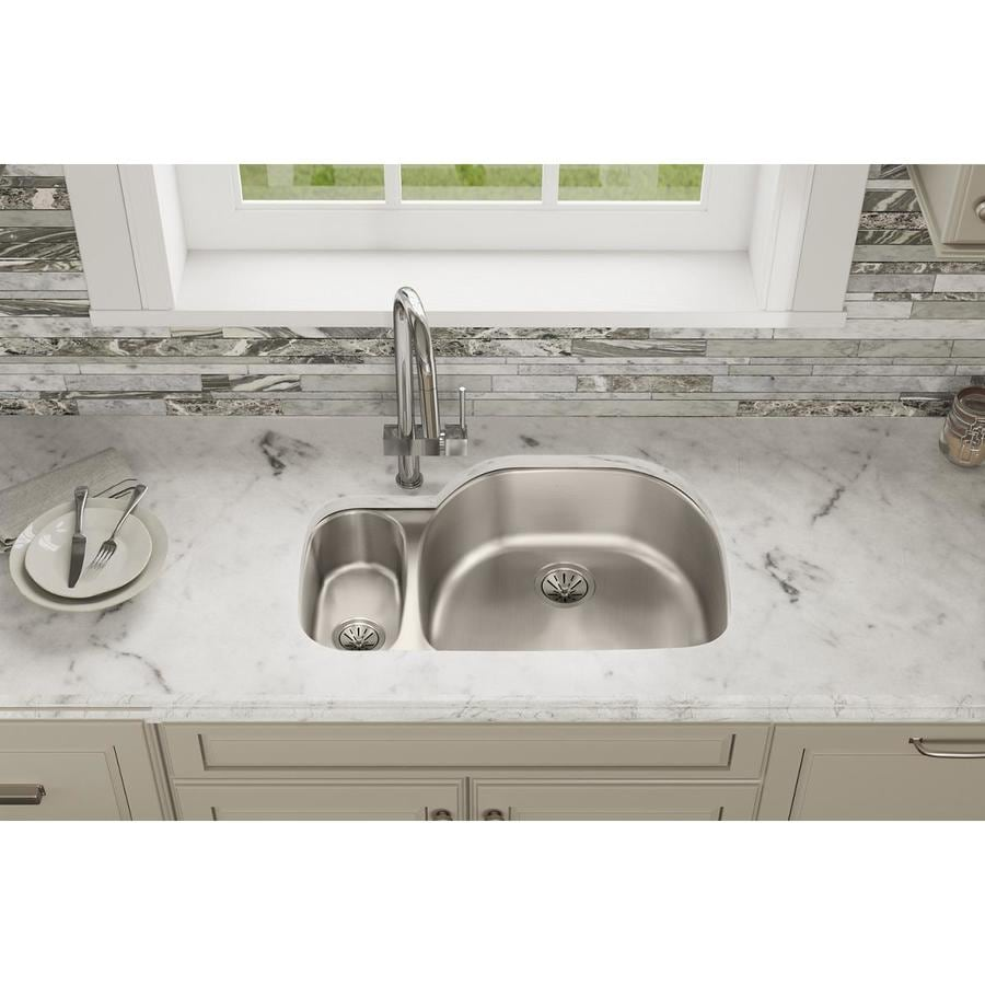 Elkay Harmony 21.19-in x 31.56-in Lustertone 2 Stainless Steel Undermount (Customizable)-Hole Residential Kitchen Sink