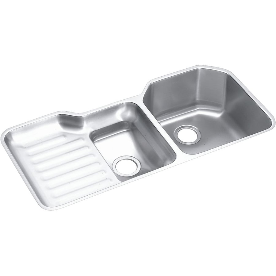 Elkay Harmony 20.5-in x 41.5-in Lustrous Highlighted Satin 2 Stainless Steel Undermount (Customizable)-Hole Residential Kitchen Sink Drainboard Included