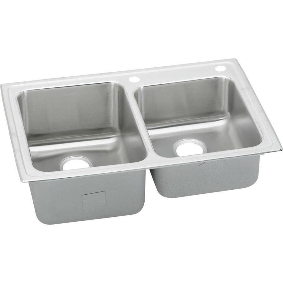 Elkay Gourmet 22-in x 33-in Lustertone Double-Basin Drop-in 2-Hole Residential Kitchen Sink