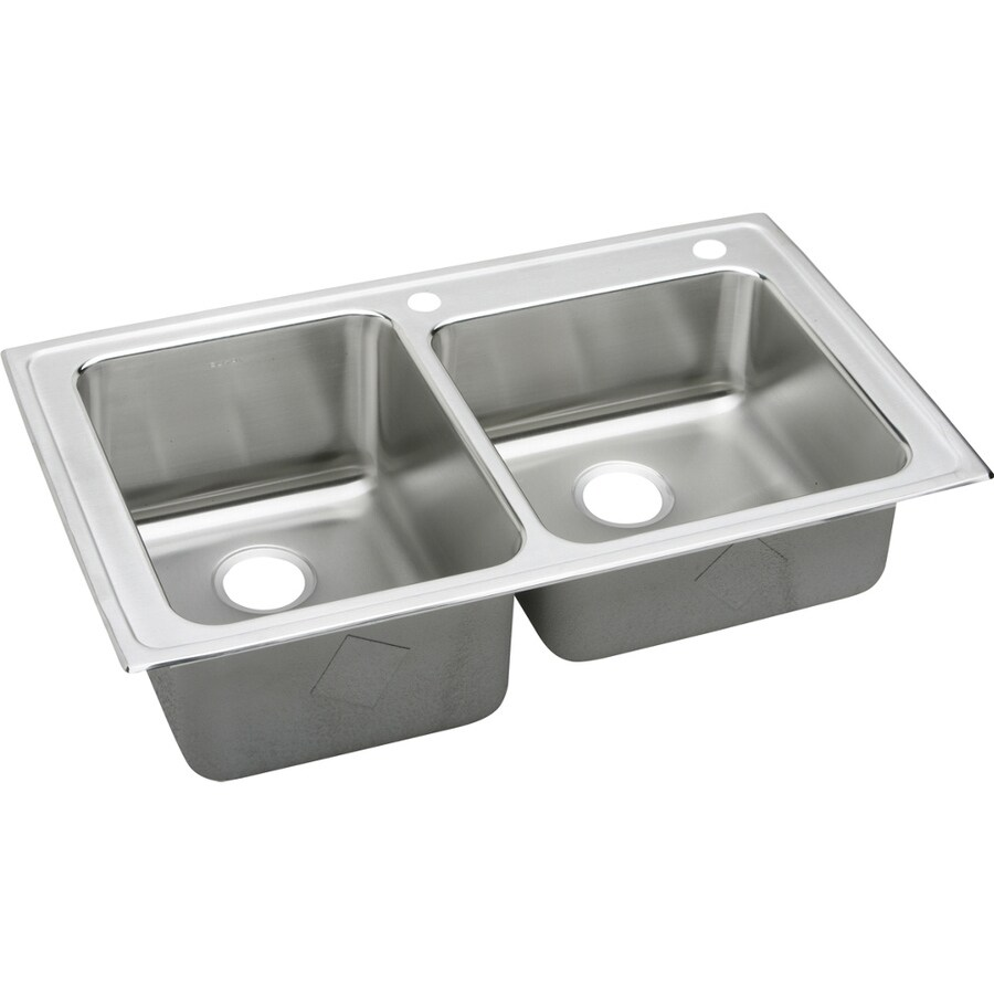 Elkay Gourmet 22-in x 37-in Lustertone Double-Basin Stainless Steel Drop-in 2-Hole Residential Kitchen Sink