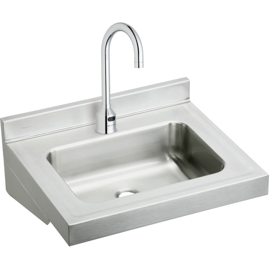 Elkay 19-in x 22-in Buffed Satin Wall Mount Stainless Steel Utility Tub with Faucet