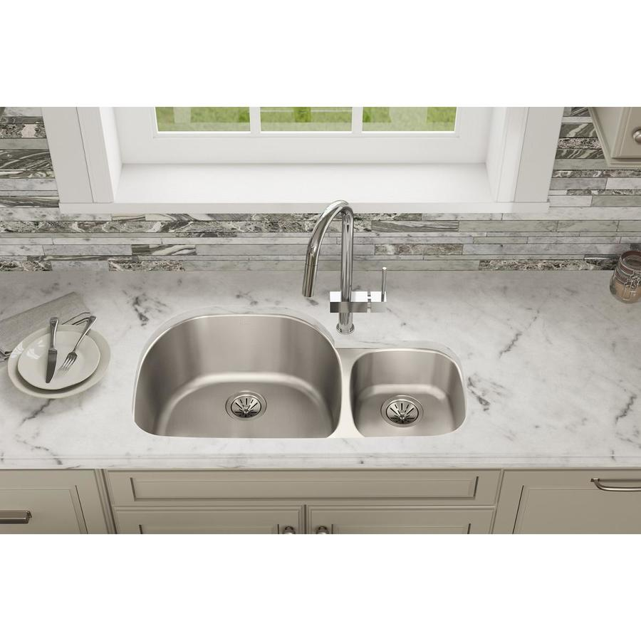 Elkay Harmony 21.19-in x 36.31-in Lustertone Double-Basin Stainless Steel Undermount Residential Kitchen Sink