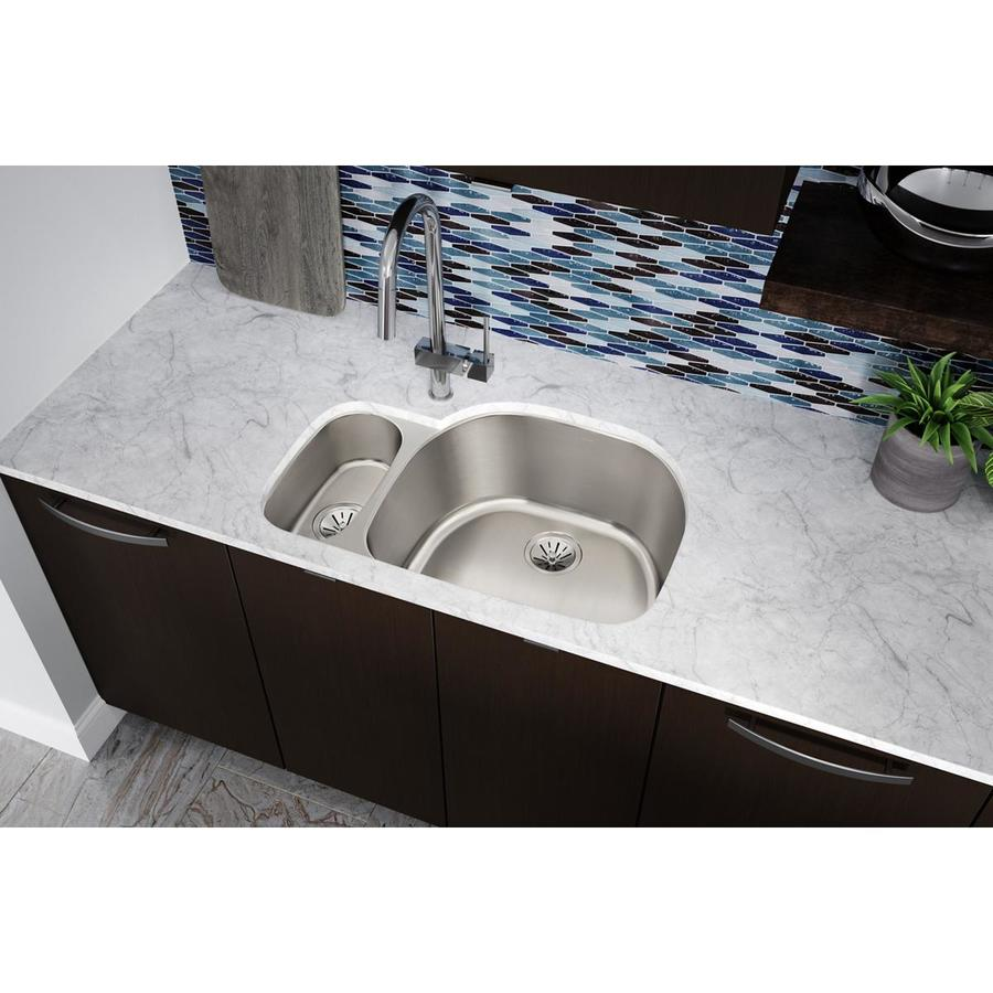 Elkay Harmony 21.19-in x 31.56-in Lustertone Double-Basin Undermount Residential Kitchen Sink