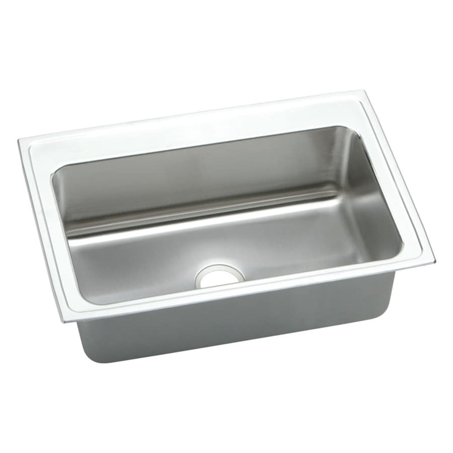 Elkay Gourmet 22-in x 33-in Lustrous Highlighted Satin Single-Basin Drop-in Residential Kitchen Sink