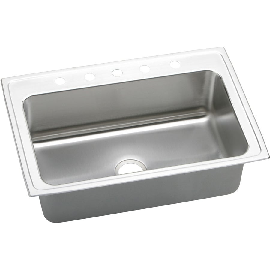 Elkay Gourmet 22-in x 33-in Lustertone 1 Stainless Steel Drop-in 5-Hole Residential Kitchen Sink
