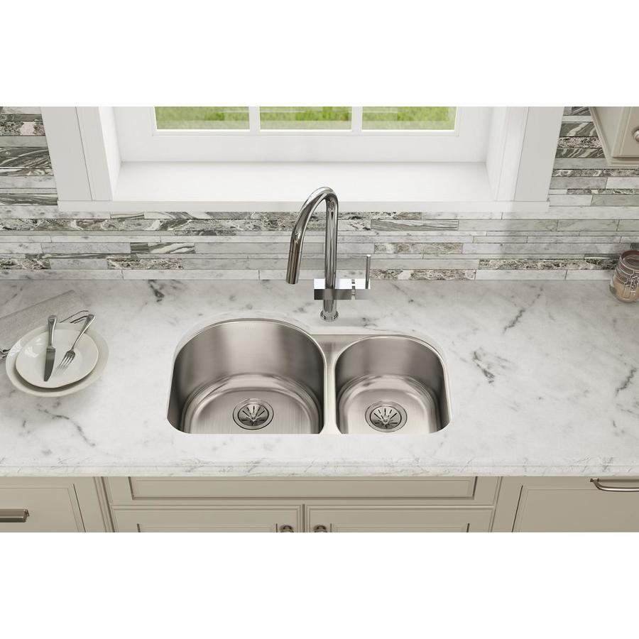Shop Elkay Lustertone 31.25-in x 20-in Lustertone Double-Basin ...