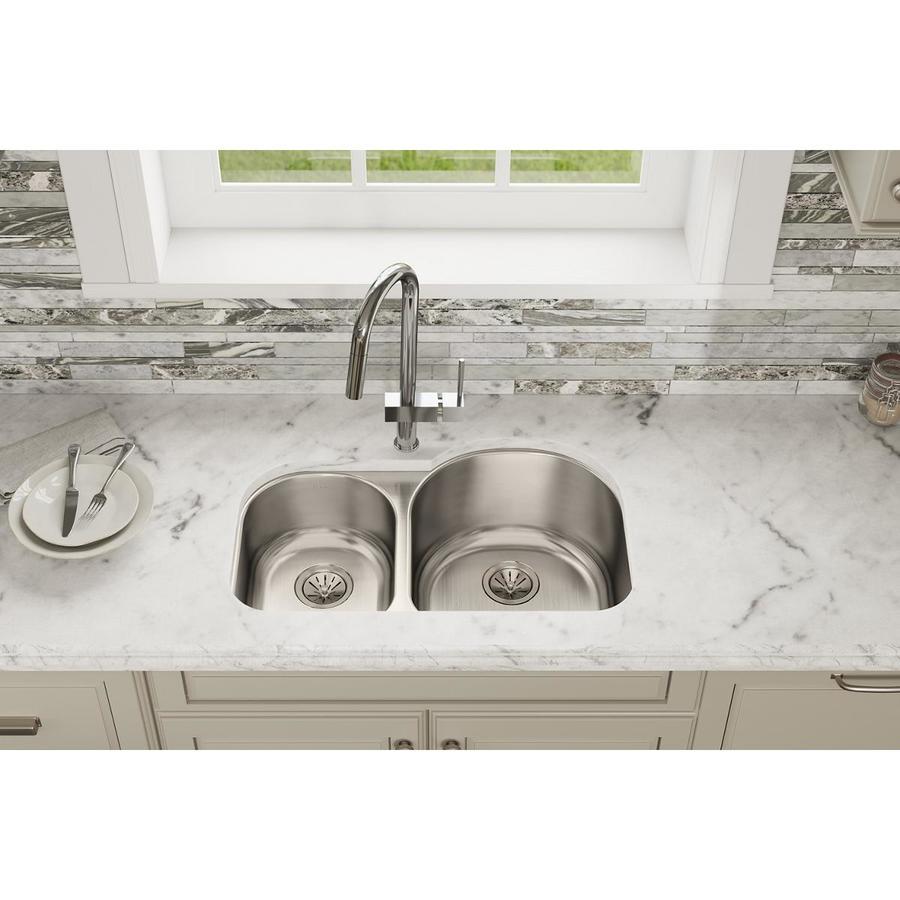 Elkay Harmony 20-in x 31.25-in Lustertone Double-Basin Undermount Residential Kitchen Sink