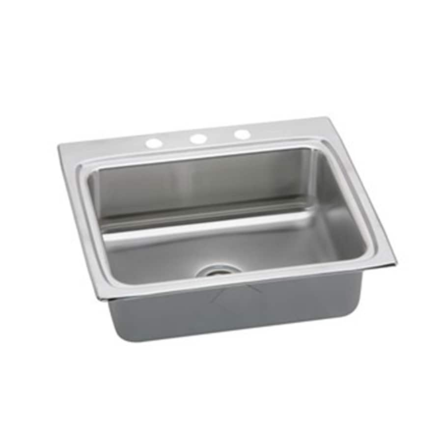 Elkay Gourmet 22-in x 25-in Single-Basin Stainless Steel Drop-in 3-Hole Commercial/Residential Kitchen Sink Drainboard Included