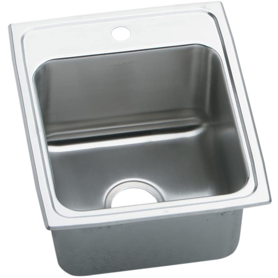 Elkay Gourmet 20-in x 17-in Lustertone Single-Basin Drop-in 1-Hole Residential Kitchen Sink