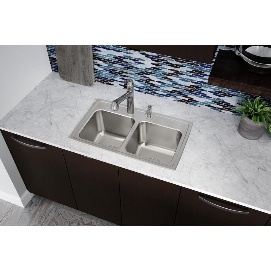 Elkay Gourmet 18-in x 29-in Lustrous Highlighted Satin Double-Basin Stainless Steel Drop-in 3-Hole Residential Kitchen Sink