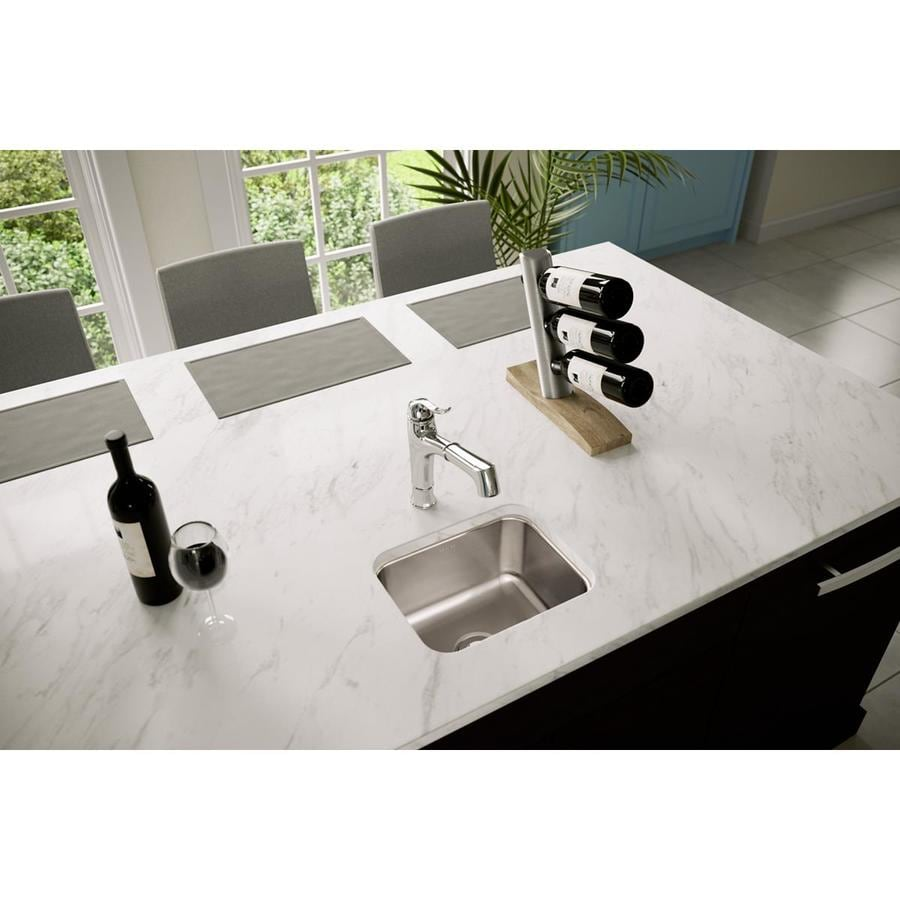 Elkay Gourmet 11.75-in x 14.5-in Lustrous Highlighted Satin Single-Basin-Basin Stainless Steel Undermount (Customizable)-Hole Residential Kitchen Sink
