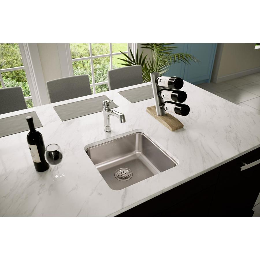 Elkay Gourmet 18.5-in x 18.5-in Lustrous Highlighted Satin Single-Basin-Basin Stainless Steel Undermount (Customizable)-Hole Residential Kitchen Sink