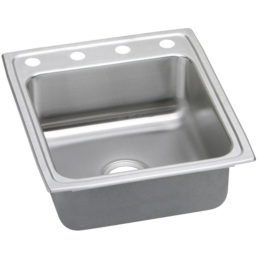Elkay Gourmet 22-in x 19.5-in Stainless Steel Single-Basin Drop-in 4-Hole Residential Kitchen Sink