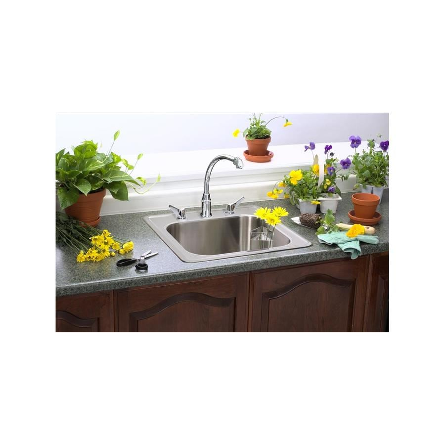 Elkay Gourmet 20-in x 20-in Brushed Satin 1 Stainless Steel Drop-in 1-Hole Residential Kitchen Sink