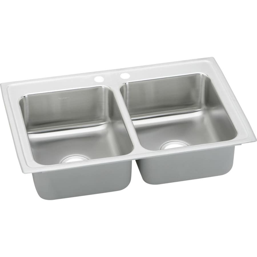 Elkay Gourmet 19.5-in x 25-in Bright Satin Double-Basin Stainless Steel Drop-in 2-Hole Residential Kitchen Sink Drainboard Included