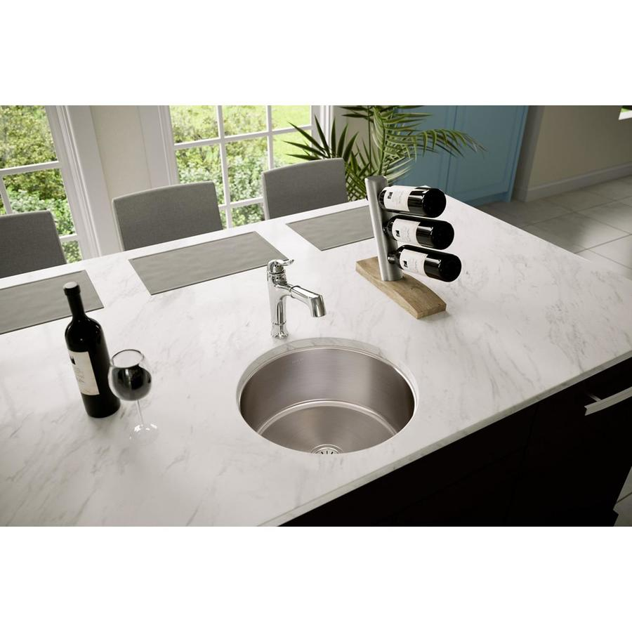 Elkay Mystic 18.38-in x 18.38-in Stainless Steel 1 Stainless Steel Undermount (Customizable)-Hole Residential Kitchen Sink