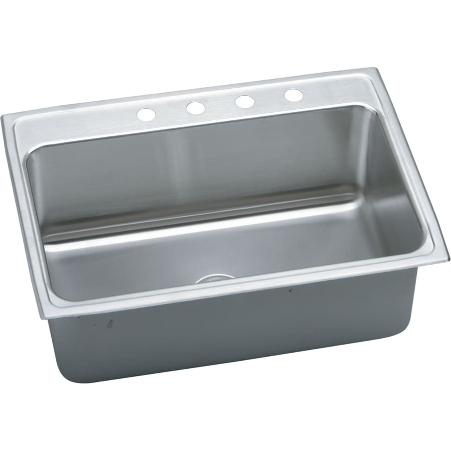 Elkay Gourmet 22-in x 31-in Lustrous Highlighted Satin Single-Basin Stainless Steel Drop-in 3-Hole Residential Kitchen Sink