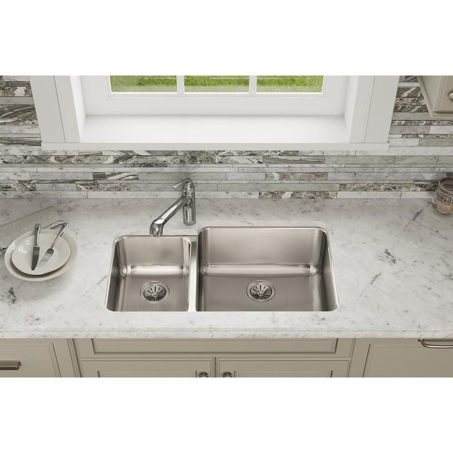 Elkay Gourmet 20.5-in x 35.25-in Lustertone Double-Basin Stainless Steel Undermount Residential Kitchen Sink