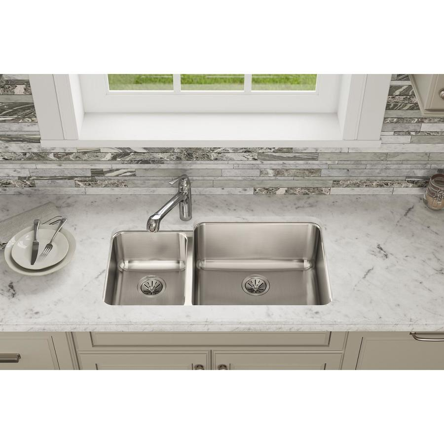 Elkay Gourmet 20.5-in x 35.25-in Lustertone Double-Basin Undermount Residential Kitchen Sink