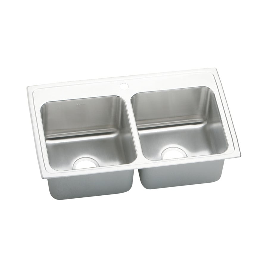Elkay Gourmet 19.5-in x 33-in Lustrous Satin 2 Stainless Steel Drop-in 1-Hole Residential Kitchen Sink Drainboard Included