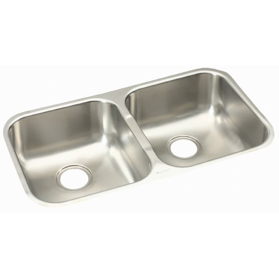 Elkay Gourmet 18.25-in x 31.75-in Soft Highlighted Satin Double-Basin Undermount Residential Kitchen Sink