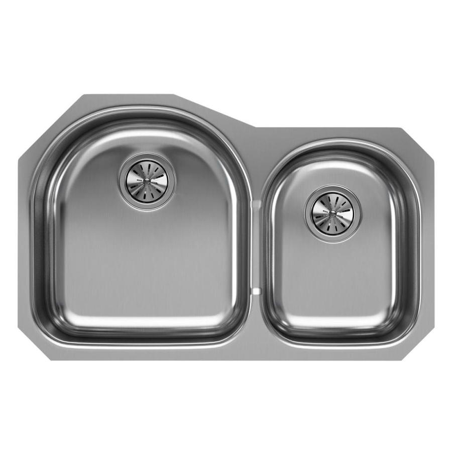 Elkay Harmony 20-in x 31.25-in Soft Highlighted Satin Double-Basin Stainless Steel Undermount Residential Kitchen Sink