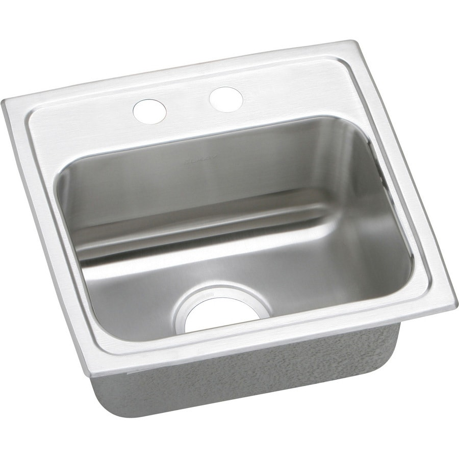 Elkay Gourmet 16-in x 17-in Stainless Steel Single-Basin-Basin Stainless Steel Drop-in 2-Hole Residential Kitchen Sink