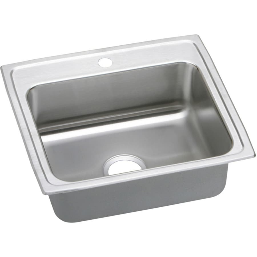 Elkay Gourmet 19.5-in x 22-in Single-Basin Stainless Steel Drop-in 1-Hole Commercial/Residential Kitchen Sink Drainboard Included