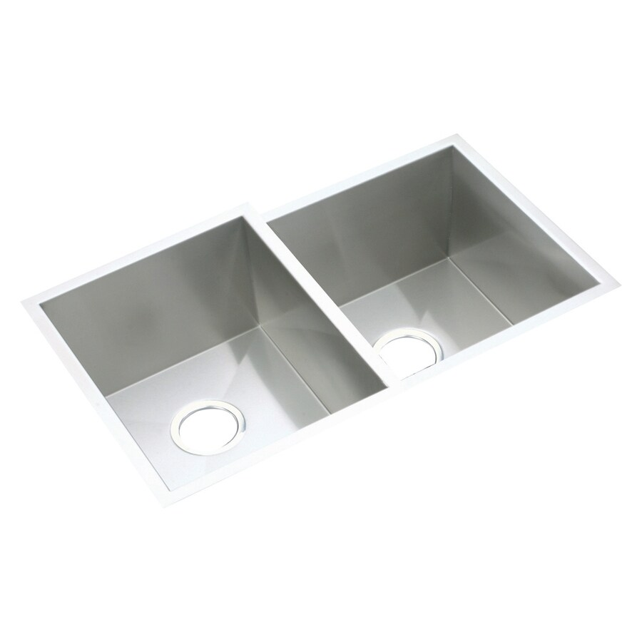 Elkay Avado 20.5-in x 31.25-in Polished Satin Double-Basin Stainless Steel Undermount Residential Kitchen Sink
