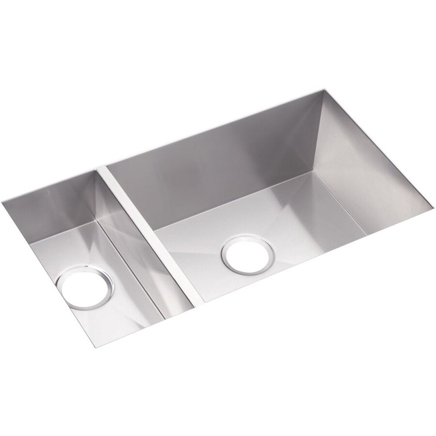 Elkay Avado 18.25-in x 32.25-in Polished Satin Double-Basin Stainless Steel Undermount Residential Kitchen Sink