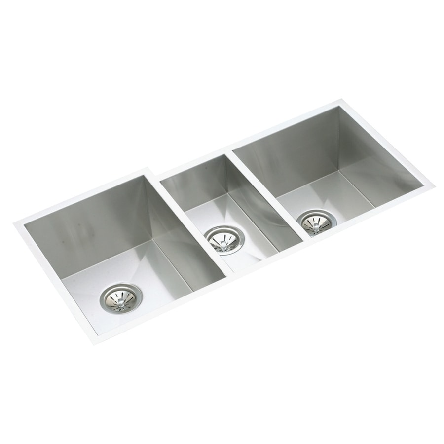 Elkay Avado 20.5-in x 40-in Polished Satin Triple-Basin Stainless Steel Undermount Residential Kitchen Sink Drainboard Included