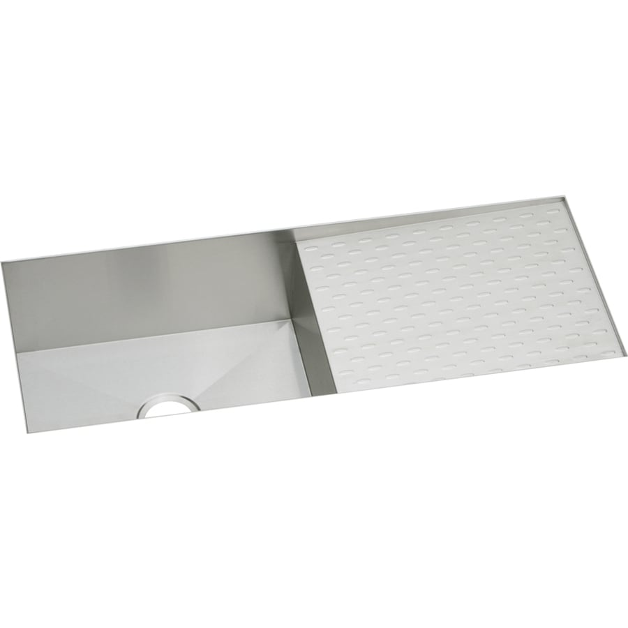 Elkay Avado 18.25-in x 43.5-in Polished Satin Single-Basin Stainless Steel Undermount Commercial Kitchen Sink with Drainboard