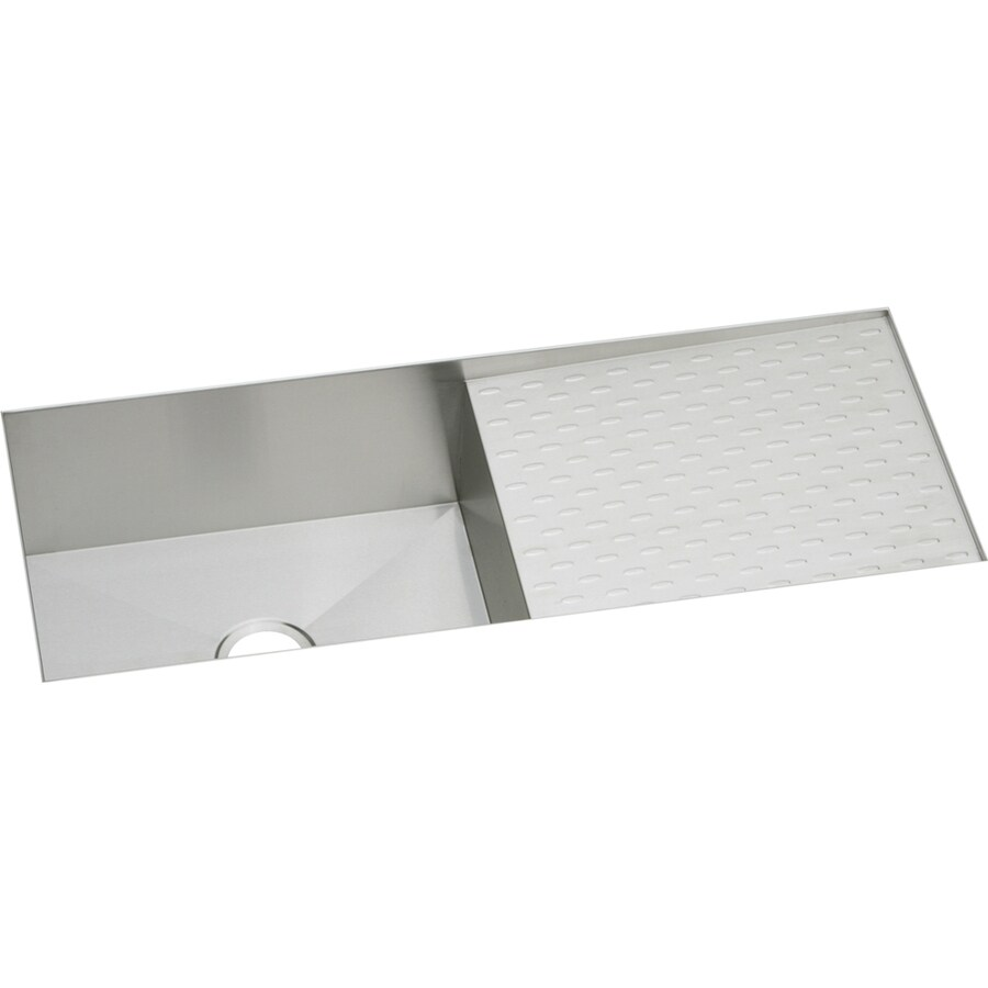 Elkay Avado 18.25-in x 43.5-in Polished Satin Single-Basin Stainless Steel Undermount Commercial Kitchen Sink Drainboard Included