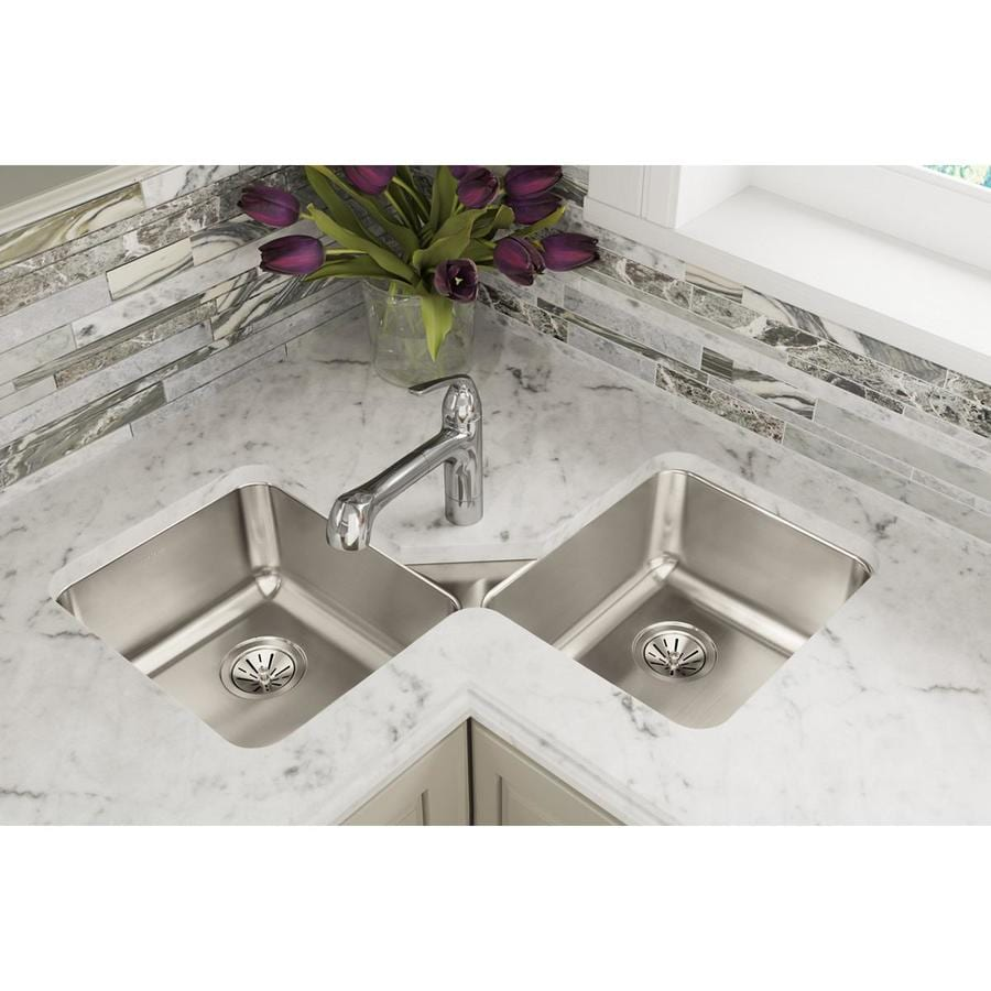 Elkay Gourmet 32-in x 32-in Lustrous Highlighted Satin Double-Basin Stainless Steel Undermount Corner Installation Residential Kitchen Sink