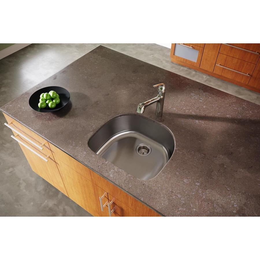 Elkay Dayton 21.12-in x 23.56-in Radiant Satin 1 Stainless Steel Undermount (Customizable)-Hole Residential Kitchen Sink